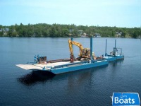 Custom Built 2001 50' x 20' x 4' Sectional Barge c/w push barge,work boat,excavator & skid steer