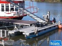 Custom Built 1988 28' x 8' Pontoon Spud Crane Work Boat