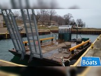 1970's40 x 20 x 2 Dual Pontoon Steel Barge with Hydraulic Ramps